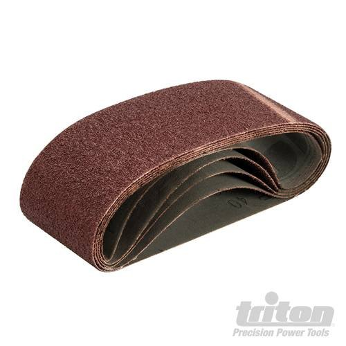 Sanding Belt 75 x 480mm 5pk 40 Grit High quality aluminium oxide abrasive with phenolic resin bonding agent. Heavy duty X-weight cloth backing for long life and high performance. Fully top-skived for reduced chatter and tear-resistance. Closed coat for hig