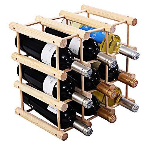 (Giantex Wine Rack Bottle Display Shelves Wood Stackable Storage Stand Wobble-Free Wine Bottle Holder Organizer for Bar, Wine Cellar, Basement, Home Kitchen Free Standing Bottle Rack (12-Bottle))