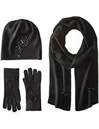 Women's Jeweled Cashmere Scarf, Hat, and Glove Set