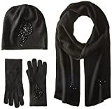 La Fiorentina Women's Jeweled Cashmere Scarf Hat and Glove 3 Piece Set, Black, One Size