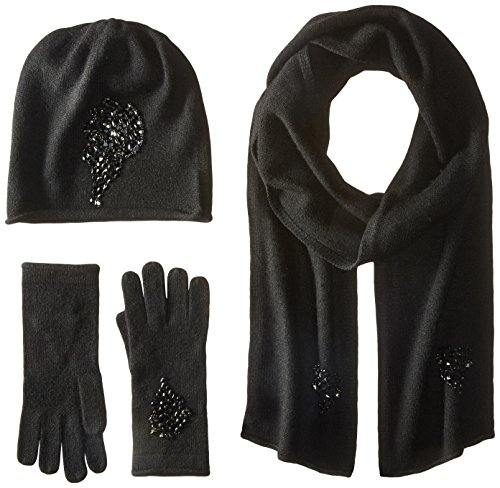 s Jeweled Cashmere Scarf Hat and Glove 3 Piece Set, Black, One Size (3 Jeweled Bead)