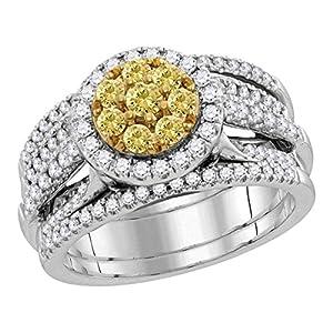 14k White Gold Round Halo Yellow Diamond Cluster Engagement Ring & Wedding Bands Set Bridal Set 1.00 ctw Size 6.5