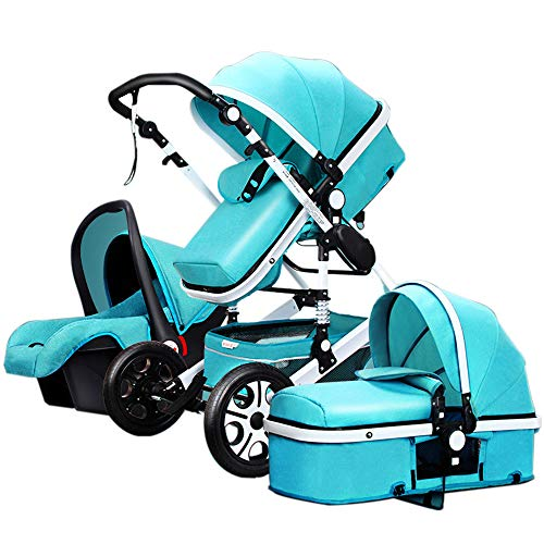 Baby Stroller and car seat Combo?Newborn Stroller pram 3 in 1 Strollers Bed Baby bassinets 2-1 Baby Carriage Pushchair Foldable Infant Travel System (Green 3-1)