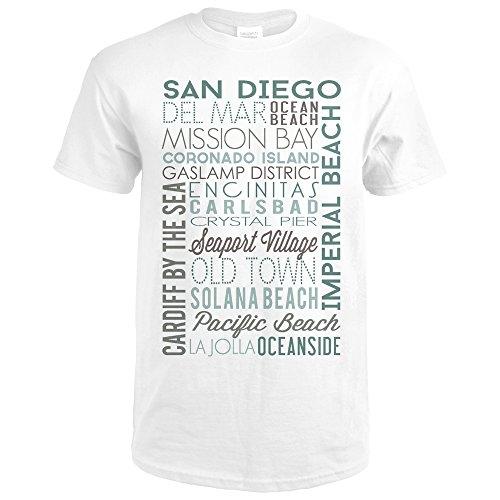 San Diego, California - Green Typography (Premium White T-Shirt - Seaport Diego Village San Shops