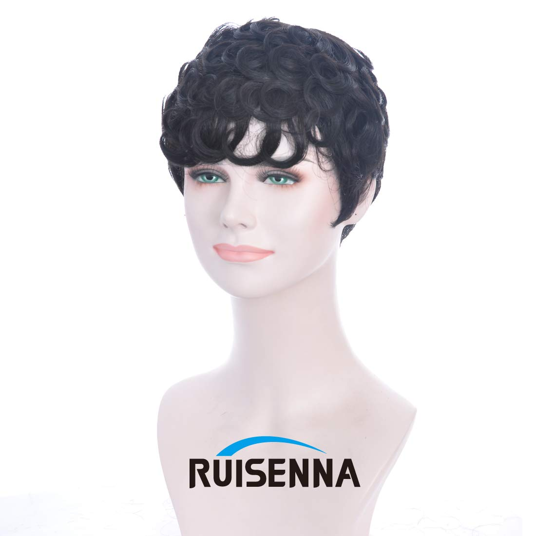 1920s Flapper Headband, Gatsby Headpiece, Wigs RUISENNA 100% Human Hair Short Curly Wigs For Black Women Pixie Wig Big Curls Short Wig $35.99 AT vintagedancer.com
