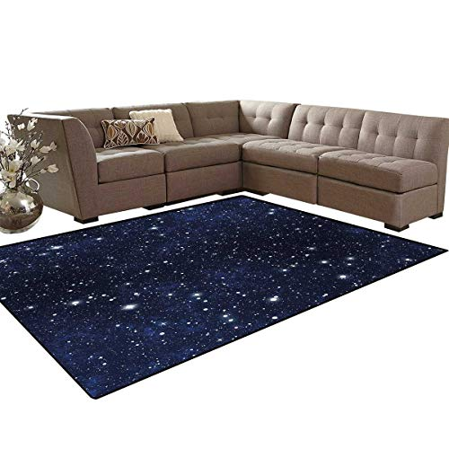 Night Room Home Bedroom Carpet Floor Mat Star Filled Dark Sky Vivid Celestial Theme Cosmos Galactic Cluster Constellation Door Mats Area Rug 6'6