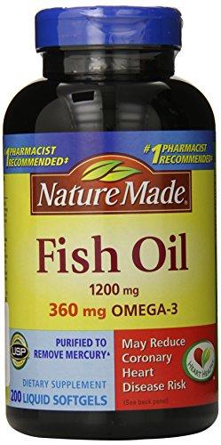 Nature Made Fish Oil 1200 mg, 400 gélules Force maximale, deux bouteilles, 200 gélules Chaque