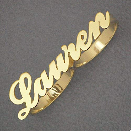 (Solid 10K Gold Two Finger Personalized Name Ring Custom Made Fine Jewelry)