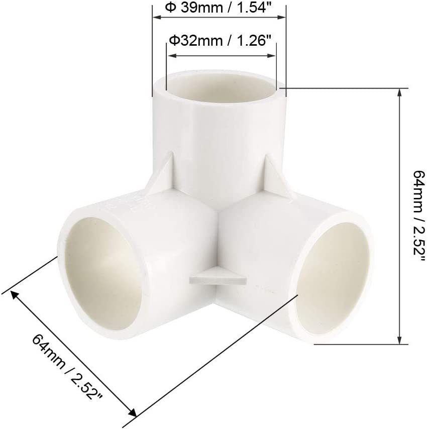 Codo de PVC de 3 v/ías para aspersor de riego Sourcing map