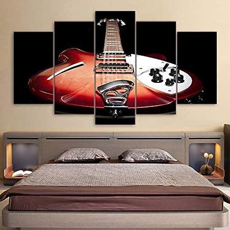 Decoración Sala de Estar Póster Arte de la Pared Lienzo Modular Fotos Obras de Arte Guitarra Vintage Instrumento de música Impresión s: Amazon.es: Hogar