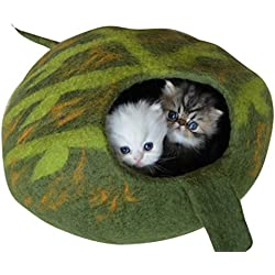Earthtone Solutions Best Cat Cave Bed, Unique Green Handmade Natural Felted Merino Wool, Large Covered and Cozy Pod, Also Perfect for Kittens, Includes Bonus Catnip, Original Cat Caves, By (Green)