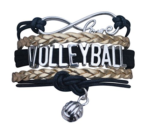 Volleyball Charm Bracelet - Infinity Love Adjustable Charm Bracelet with Volleyball Charm for Women and Girls (Spirit Strand Bracelets)