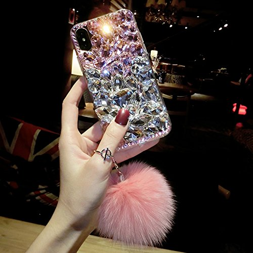 Rhinestone Cases - Dower Me Luxury Fashion Bling Crystal Diamond Case Cover with Fox Fur Ball Pendant for iPhone Xs Max XR X 8 7 6 6S Plus 5 5S SE - by Aquaman Store - 1 PCs
