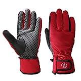 Riders Trend Women's Winter Softshell Equstrian Riding Gloves, Red, Medium
