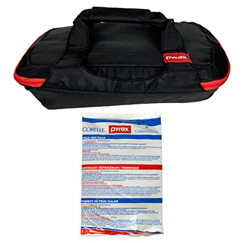 Pyrex 3 Quart 9 inch x 13 inch Black/Red Bakeware Carrying Tote and One Large Hot/Cold Pack