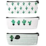 Demarkt Cactus Pencil Case Canvas Pencil Bag Stationary with Zipper Multifunctional Pencil Pouch Cosmetic Bag Purse Pack of 3