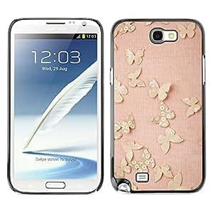 TopCaseStore / la caja del caucho duro de la cubierta de protección de la piel - Butterfly Gold Bling Spring Peach Pink - Samsung Galaxy Note 2 N7100