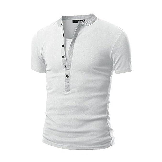 4f709763f4 Weant T Shirt da Uomo Manica Corta Bianca Polo Abbigliamento Uomo Slim Fit  Tee Basic Pulsante Taglie Forti Casual Cotone Retro Camicetta Sportivo Top  ...