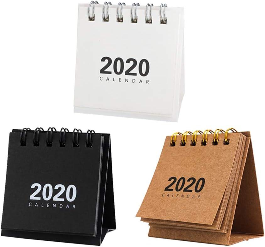 BESPORTBLE 3 Piezas Calendario de Escritorio 2020 Calendario de Escritorio Planificador de Calendario Calendario Año Calendario Decoración de Mesa para Oficina Hogar Regalos