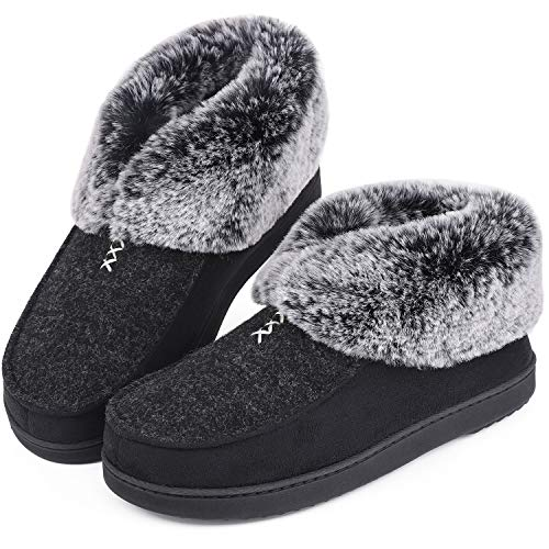 Womens Cozy Memory Foam Slippers Fluffy Wool Like Faux Fur Fleece Lined House Shoes with Non Skid Indoor Outdoor Sole (10 B(M) US, Deep Black)