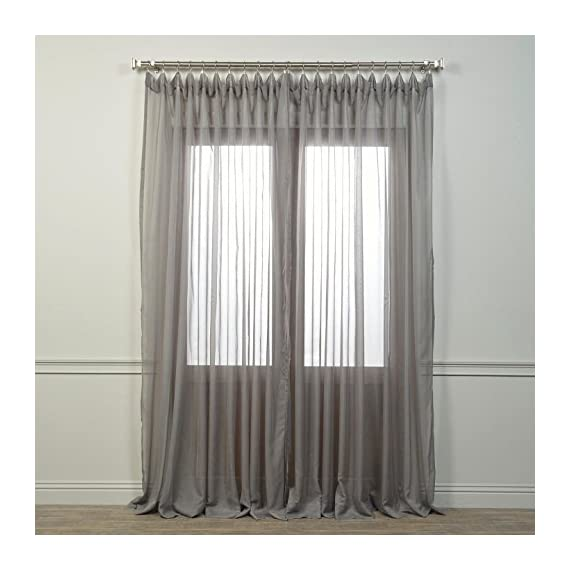 "HPD Half Price Drapes SHCH-VOL5-SLDW-108 Extra Wide Voile Poly Sheer Curtain (1 Panel), 100 X 108, Solid Grey - Sold Per Panel 100% Polyester | Unlined 3"" Pole Pocket - living-room-soft-furnishings, living-room, draperies-curtains-shades - 51Ais1PS7sL. SS570  -"