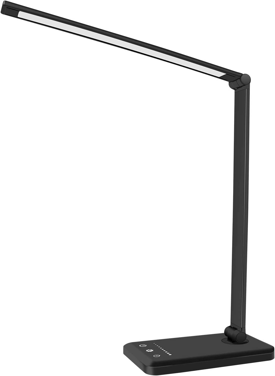 Lapeort LED Desk Lamp, Dimmable Table Lamps with USB Charging Port, Eye-Caring Portable Office Lamp, 5 Lighting Modes, Touch Control, Timer/Memory Function for Dorm, Working, Study, Reading