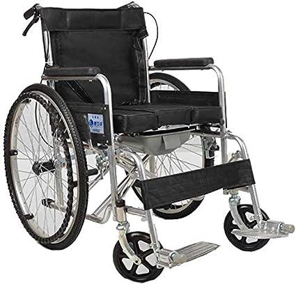 CHAIR Silla de ruedas, silla de rehabilitación médica para personas mayores, personas mayores, silla de ruedas Lite Steel Pipe, marco liviano y plegable, silla de ruedas propulsable auxiliar, silla d