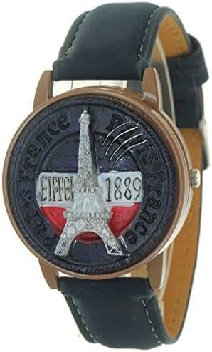 Black France Paris Eiffel Tower Design Antique Clamshell Genuine Leather Quartz Dress Fashion Watch