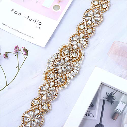 XINFANGXIU Bridal Wedding Dress Sash Belt Applique with Crystals Rhinestones Pearls Beaded Dacorations Handcrafted Sparkle Elegant Thin Sewn or Hot Fix for Women Gown Evening Prom Clothes (Gold-2) (Beaded Silk Belt)
