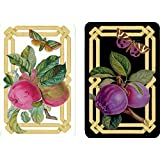 Entertaining with Caspari Double Deck of Bridge Playing Cards, Jumbo Type, Decoupage Garden