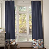 Carousel Designs Navy and Orange Woodland Drape Panel 84-Inch Length Standard Lining 42-Inch Width