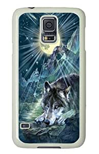 Samsung Galaxy S5 Case, Samsung Galaxy S5 Cases -Wolf Night Symphony Custom PC Hard Case Cover for Samsung S5/Samsung Galaxy S5 White