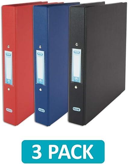 Elba - Archivador de anillas (A4, 2 anillas, plástico, rojo/negro/azul, 3 carpetas): Amazon.es: Oficina y papelería
