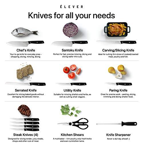 Elever Knife Set - Kitchen Knife Set with Block, 13 Kitchen Knives with Knife Sharpener, Chef Knife, Kitchen Scissors, Steak Knives. Modern Knives Kitchen Set, House Kitchen Decor, Cutlery Set Gift by Elever (Image #4)