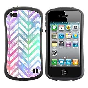 Paccase / Suave TPU GEL Caso Carcasa de Protección Funda para - chevron pattern iridescent white purple - Apple Iphone 4 / 4S