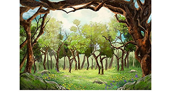 8x6.5ft Dreamy Jungle Forest Backdrop Polyester Rustic Wood Mottled Tree Shade Remote Faint Mysterious Castle Photography Background Baby 1st Birthday Party Banner Child Baby Portrait Shoot