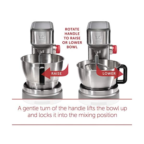 Wolf Gourmet High-Performance Stand Mixer, 7 qrt, with Flat Beater, Dough Hook and Whisk, Brushed Stainless Steel… 2