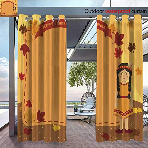QianHe Balcony Curtains Thanksgiving-Indian-Braid-Girl-Notes-Greeting-Card.jpg Outdoor Patio Curtains Waterproof with Grommets W96 x L108(245cm x 274cm)