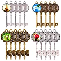 48-Pieces Vintage Pendant Trays Set, 24pcs Skeleton Keys Pendant Trays with 24pcs Bright Glass Dome Tiles Cabochon for DIY Wedding Party Gifts Jewelry Necklace Pendants Decoration