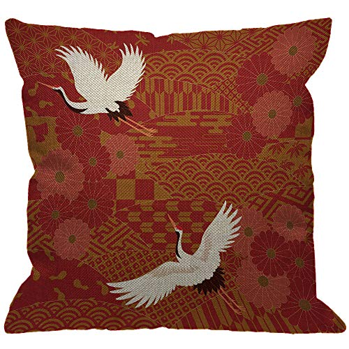 HGOD DESIGNS Japanese Throw Pillow Cover,Asian Oriental Two Cranes and Chrysanthemums Japan Wave Floral Pattern Decorative Pillow Cases Linen Square Cushion Covers for Home Sofa Couch 18x18 inch ()