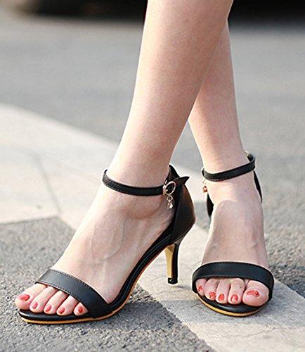 Tacones Abiertos Atractivos De Las Mujeres De Aisun Tacones Abiertos Zapatos De Tacón De Aguja Del Tobillo Abrochado Del Cordón Con Las Correas Del Tobillo Negro