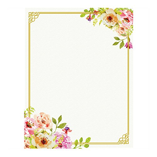 ng Paper, with Cute Floral Designs Perfect for Notes or Letter Writing - Pink and Peach Roses (Wedding Stationery Paper)