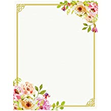 100 Stationery Writing Paper, with Cute Floral Designs Perfect for Notes or Letter Writing - Pink and Peach Roses