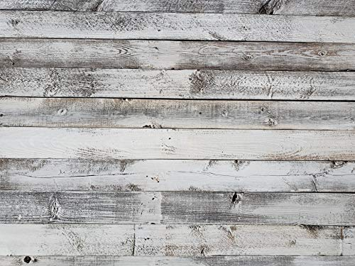 Whitewash Weathered Wood Planks for Walls - Easy Nail up Application (White - 23 Square feet)