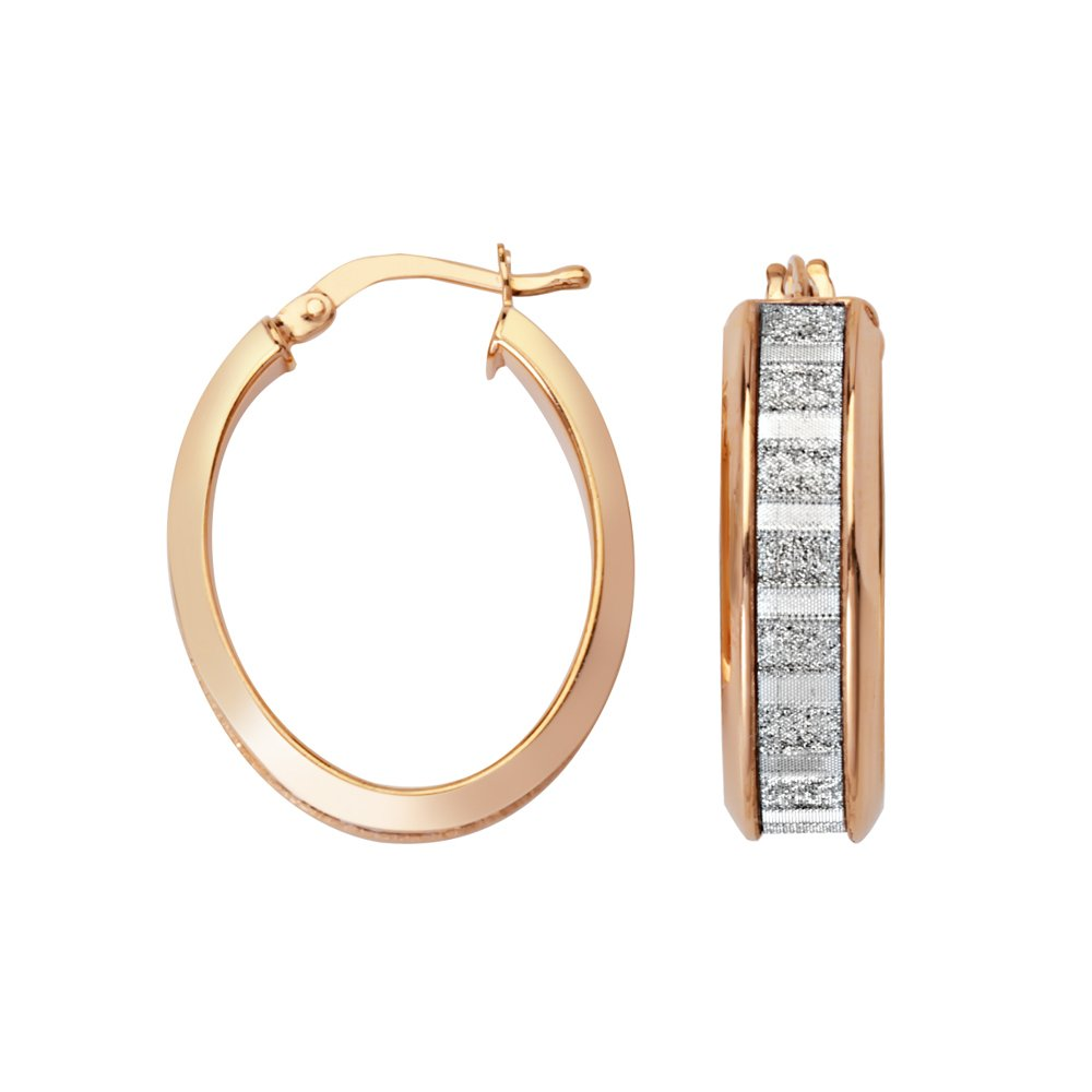 Lightz Coll Baguette Glitter Oval Hoop Hoop Earrings
