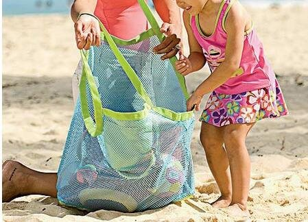 Beach Mesh Tote Bag - Beach Toys/Shell Bag Stay Away from Sand for the Beach, Pool, Boat - Perfect for Holding Childrens' Toys(Blue) by ISADENSER (Image #2)