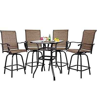 S&Cortile Patio 5 Piece Bar Set Textilene Height Bistro Sets Outdoor Garden Furniture with 4 Swivel Bar Stools and 1 Table