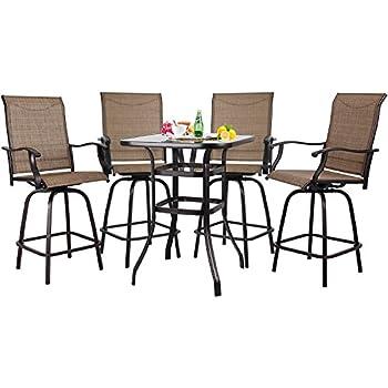 Su0026Cortile Patio 5 Piece Bar Set Textilene Height Bistro Sets Outdoor Garden  Furniture With 4 Swivel