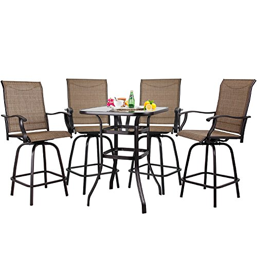 S&Cortile Patio 5 Piece Bar Set Textilene Height Bistro Sets Outdoor Garden Furniture with 4 Swivel Bar Stools and 1 (Bar Height Patio Furniture)