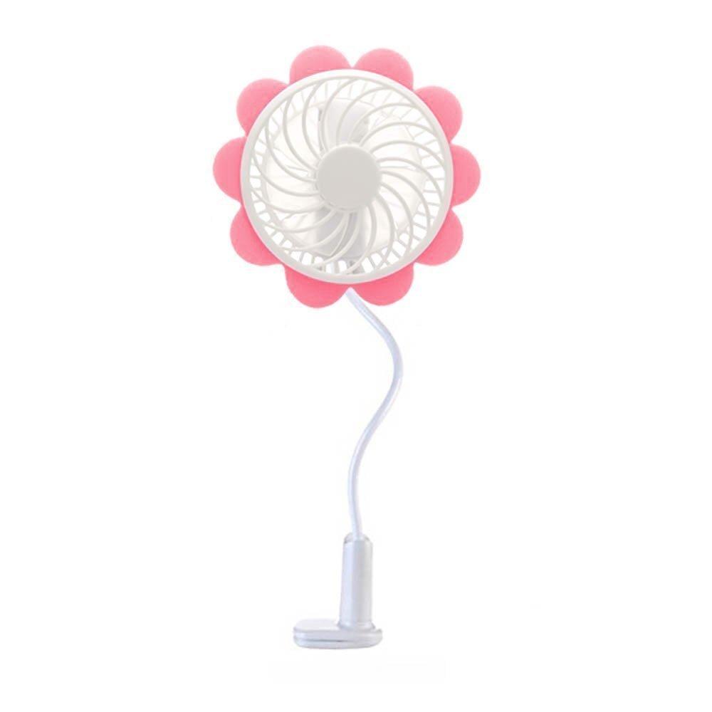Portable USB Rechargeable Fan - Pink Sunflower Design, Baby Stroller Fan - Baby Breeze Premium Cooling Fan with an Adjustable Neck, Variable Speeds - Baby Stroller - Office Desk - Home - Car Fan RE Jane P-100